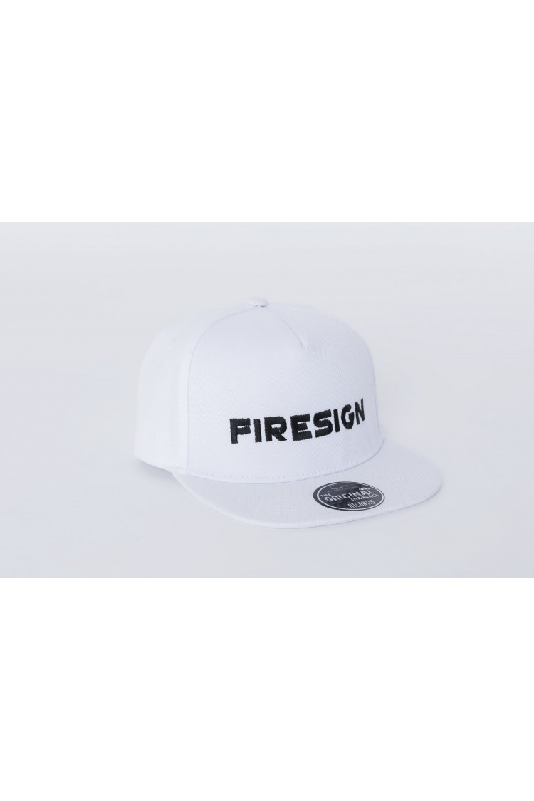 """White Hip Hop Cap with Embroidered """"FIRESIGN"""""""