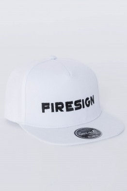 "White Hip Hop Cap with Embroidered ""FIRESIGN"""