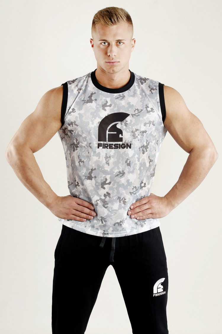 """ARMOUR"" - Arctic White Camouflage Mesh Basketball Tank Top for Man"
