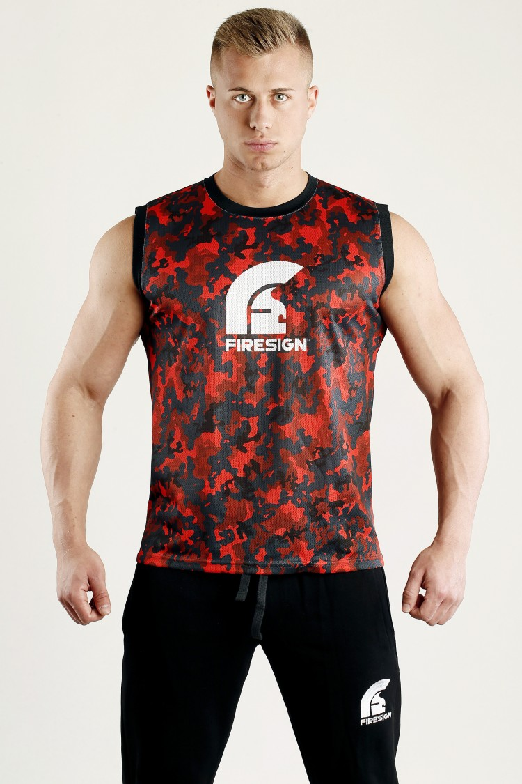 """ARMOUR"" - Magma Red Camouflage Mesh Basketball Tank Top for Man"
