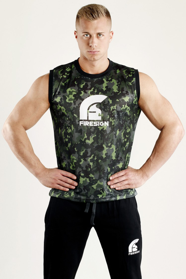 """ARMOUR"" - Rainforest Green Camouflage Mesh Basketball Tank Top for Man"