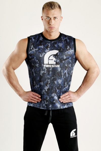 """ARMOUR"" - Pacific Blue Camouflage Mesh Basketball Tank Top for Man"