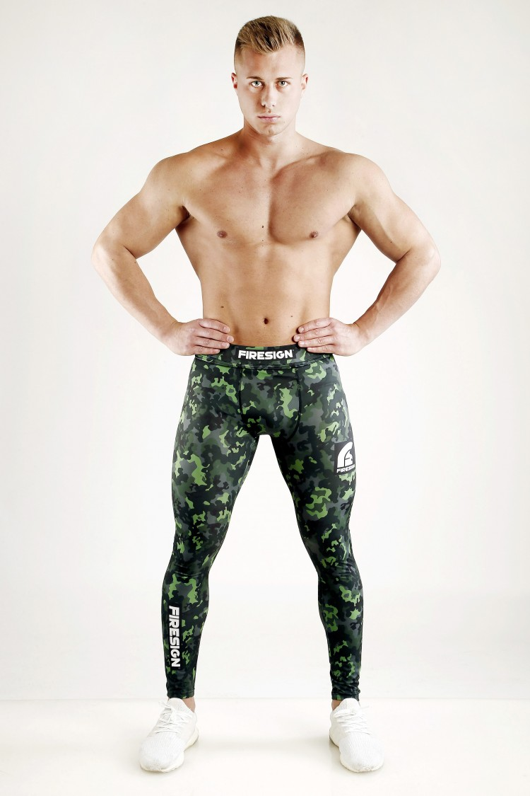 """SWAT"" - Rainforest Green Camouflage Compression Lycra Tights for Man"
