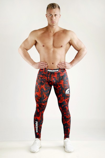 """SWAT"" - Magma Red Camouflage Compression Lycra Tights for Man"
