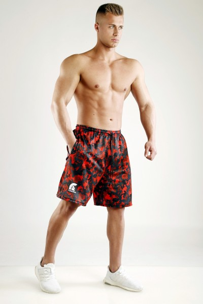 """FIGHTER"" - Magma Red Camouflage Mesh Basketball Shorts"