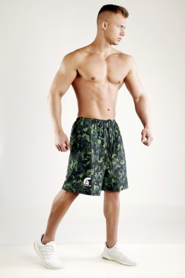 """FIGHTER"" - Rainforest Green Camouflage Mesh Basketball Shorts"