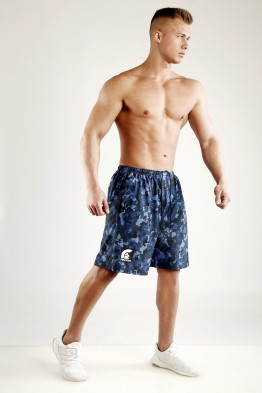 """FIGHTER"" - Pacific Blue Camouflage Mesh Basketball Shorts"