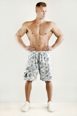 """FIGHTER"" - Arctic White Camouflage Mesh Basketball Shorts"