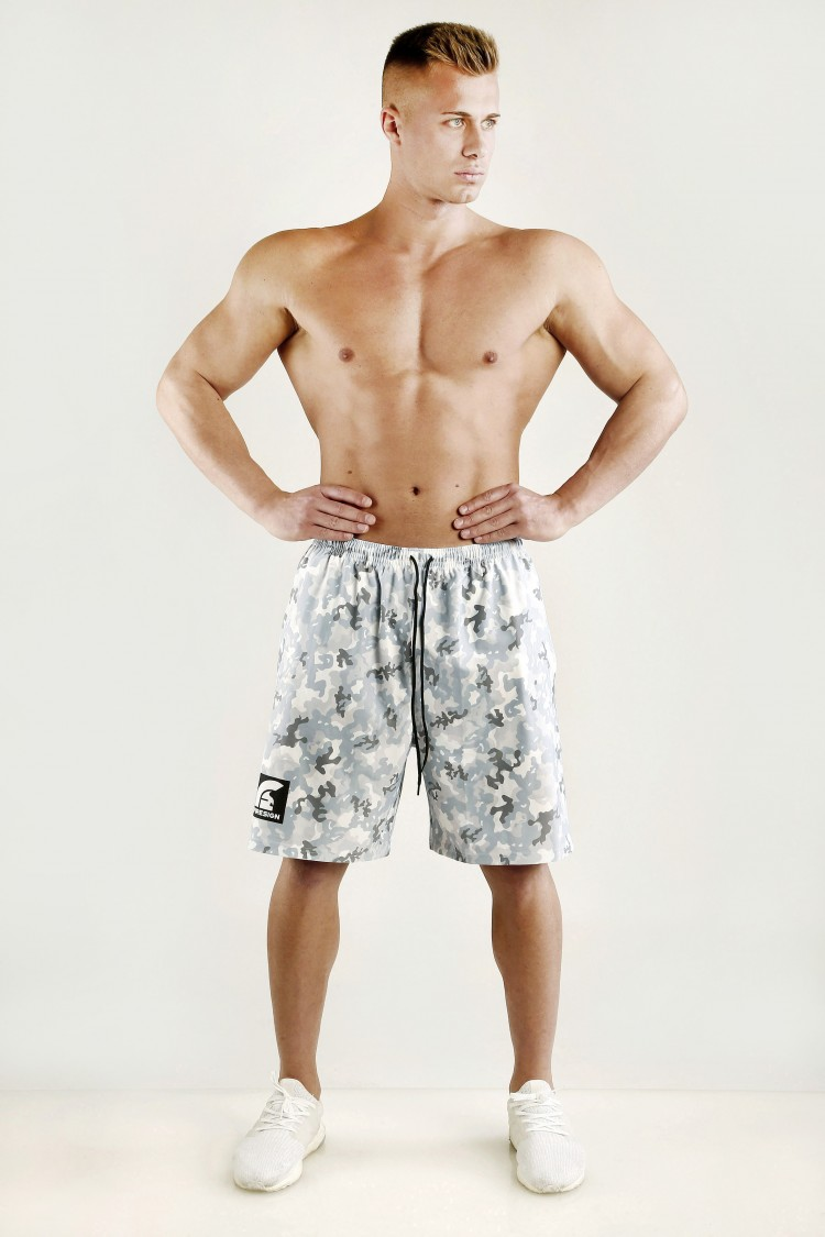 """""""FIGHTER"""" - Arctic White Camouflage Mesh Basketball Shorts"""