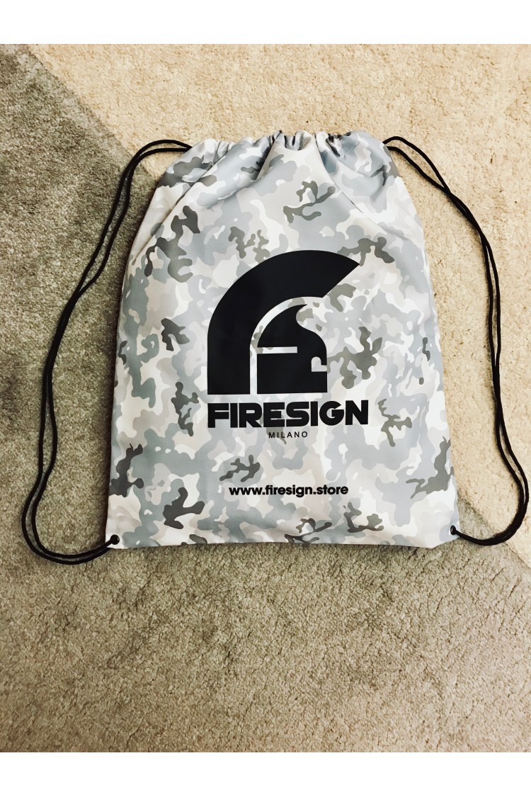"""LOADRUNNER"" - Arctic White Camouflage Gym/Beach Bag with Black Logo Print"