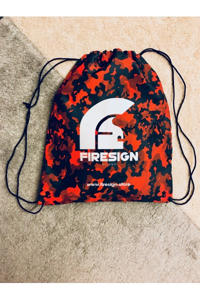 """LOADRUNNER"" - Magma Red Camouflage Gym/Beach Bag with White Logo Print"