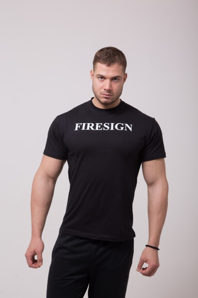 "Minimal Black T-Shirt with Roman ""FIRESIGN"" Print"