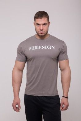 "Minimal Warm Grey T-Shirt with Roman ""FIRESIGN"" Print"