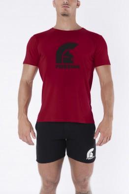 """SPQR"" - Bordeaux Red T-Shirt with Black Logo Print"