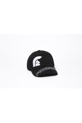 "Black Baseball Cap with Embroidered Asymmetric logo and ""FIRESIGN"""