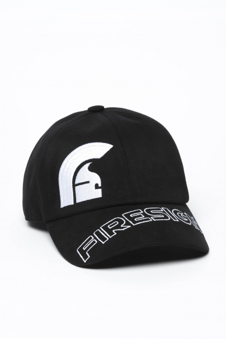 """HELM"" - Black Baseball Cap with Embroidered Asymmetric logo and ""FIRESIGN"""
