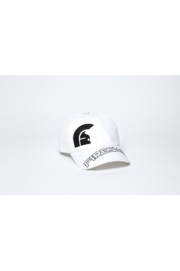 "White Baseball Cap with Embroidered Asymmetric Logo and ""FIRESIGN"""