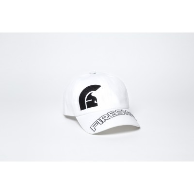 """White Baseball Cap with Embroidered Asymmetric Logo and """"FIRESIGN"""""""