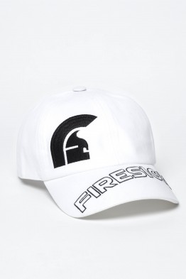 """HELM"" - White Baseball Cap with Embroidered Asymmetric Logo and ""FIRESIGN"""
