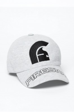 """HELM"" - Melange Grey Baseball Cap with Embroidered Centered Logo and ""FIRESIGN"""