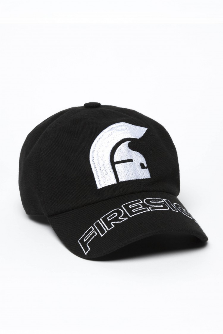 """HELM"" - Black Baseball Cap with Embroidered Centered Logo and ""FIRESIGN"""