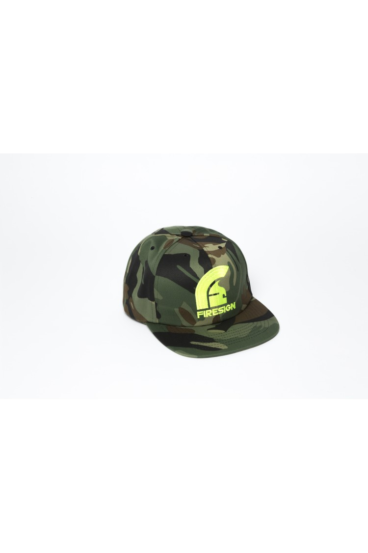 Army Camouflage Hip Hop Cap with Yellow Fluo Embroidered Logo