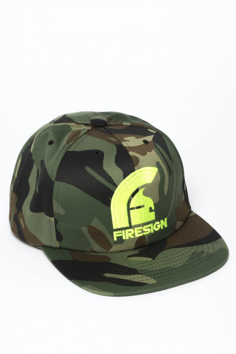 """SIEGE"" - Army Camouflage Hip Hop Cap with Yellow Fluo Embroidered Logo"