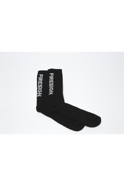 "Black Gym Socks for Man with Embroidered ""FIRESIGN"""