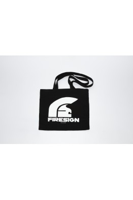 Black Shopping Bag with Logo Print