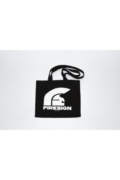 Black Shopping Bag with Logo Print