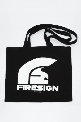 """TREASURE HUNT"" - Black Shopping Bag with Logo Print"