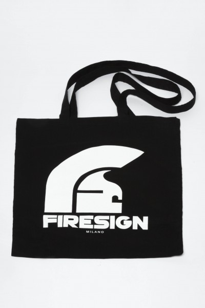 """TREASURE HUNT"" - Black Shopping Bag with Logo Print"