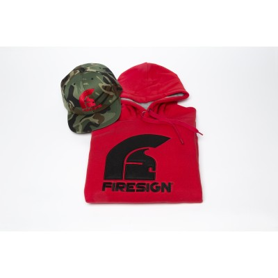 Special Gift Package Red Hoodie and Army Cap with Red Logo