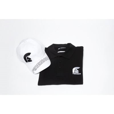 Special Gift Package Black Polo Shirt and White Baseball Cap with Asymmetric Logo