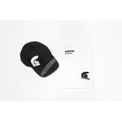 Special Gift Package White Polo Shirt and White Baseball Cap with Asymmetric Logo