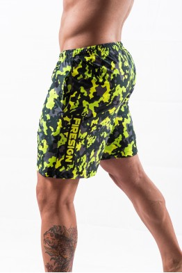 """NAVY FORCE"" - Yellow Fluo Camouflage Swimwear Shorts for Man"