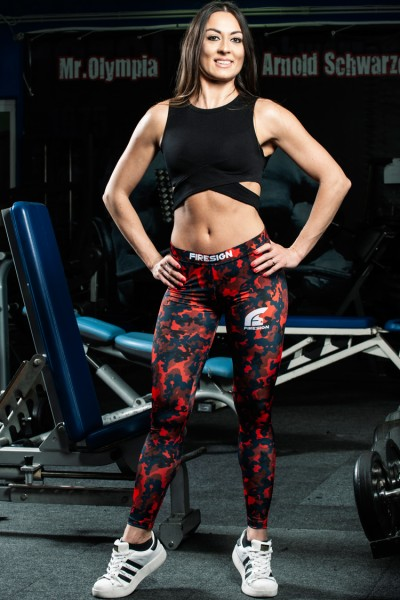 """SNAKE"" - Magma Red Camouflage Compression Lycra Leggings for Woman"