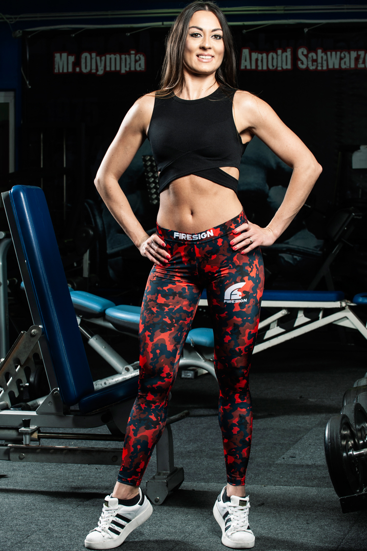 """""""SNAKE"""" - Magma Red Camouflage Compression Lycra Leggings for Woman"""