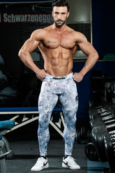"""SWAT"" - Arctic White Camouflage Compression Lycra Tights for Man"