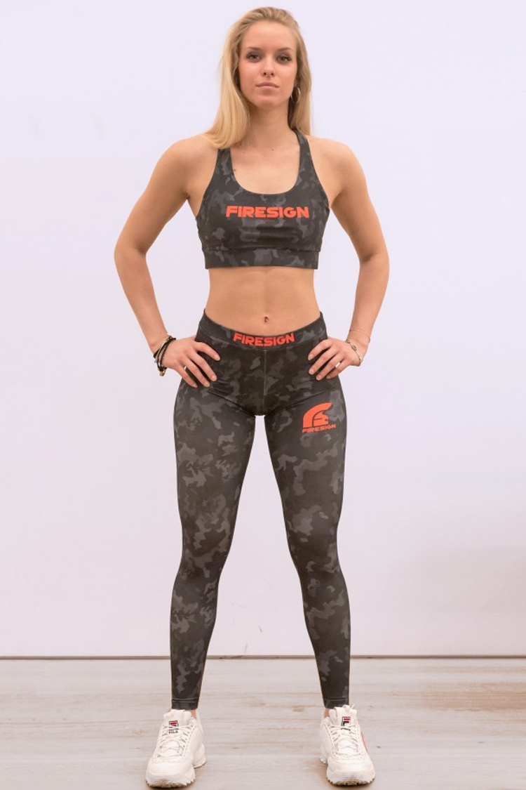 """SNAKE"" - Carbon Black Camouflage Compression Lycra Leggings for Woman"