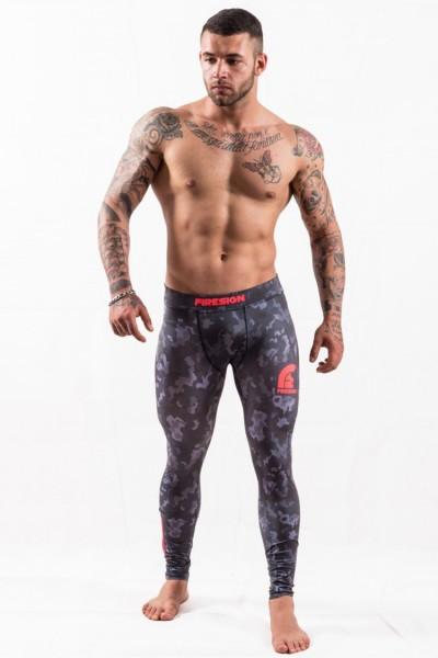 """SWAT"" - Carbon Black Camouflage Compression Lycra Tights for Man"