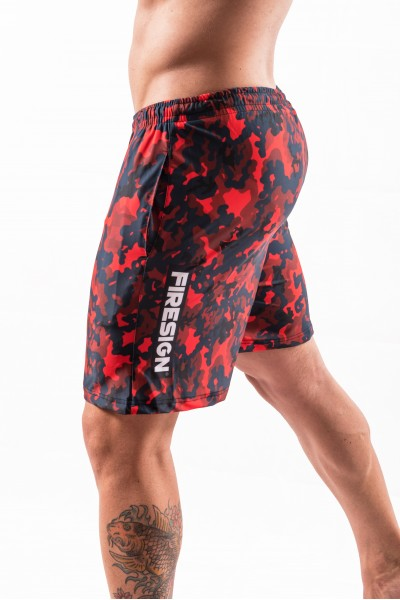 """NAVY FORCE"" - Magma Red Camouflage Swimwear Shorts for Man"