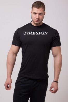 """TNR"" - Minimal Black T-Shirt for Man with ""FIRESIGN"" Print"