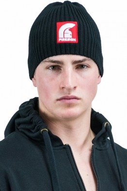 """POLAR"" - Black Woolen Ski Hat with Red Patch/Embroidered Logo"