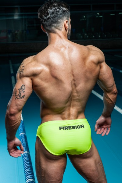 """NAVY SEAL"" 2.0 - Yellow Fluo Swimwear Slip with Black Logos, Limited Edition"