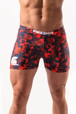 """NAVY BRIEF"" - Magma Red Camouflage Swimwear Brief for Man"