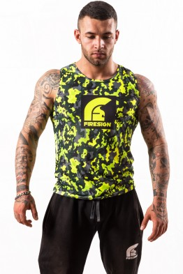 """SALAMANDER"" - Compression Yellow Fluo Camouflage Tank Top for Man"